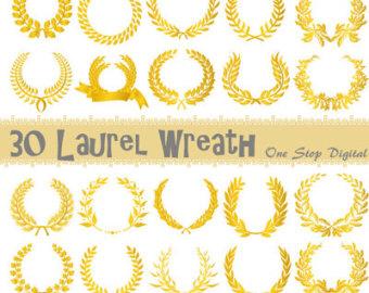 Gold wreath clipart.