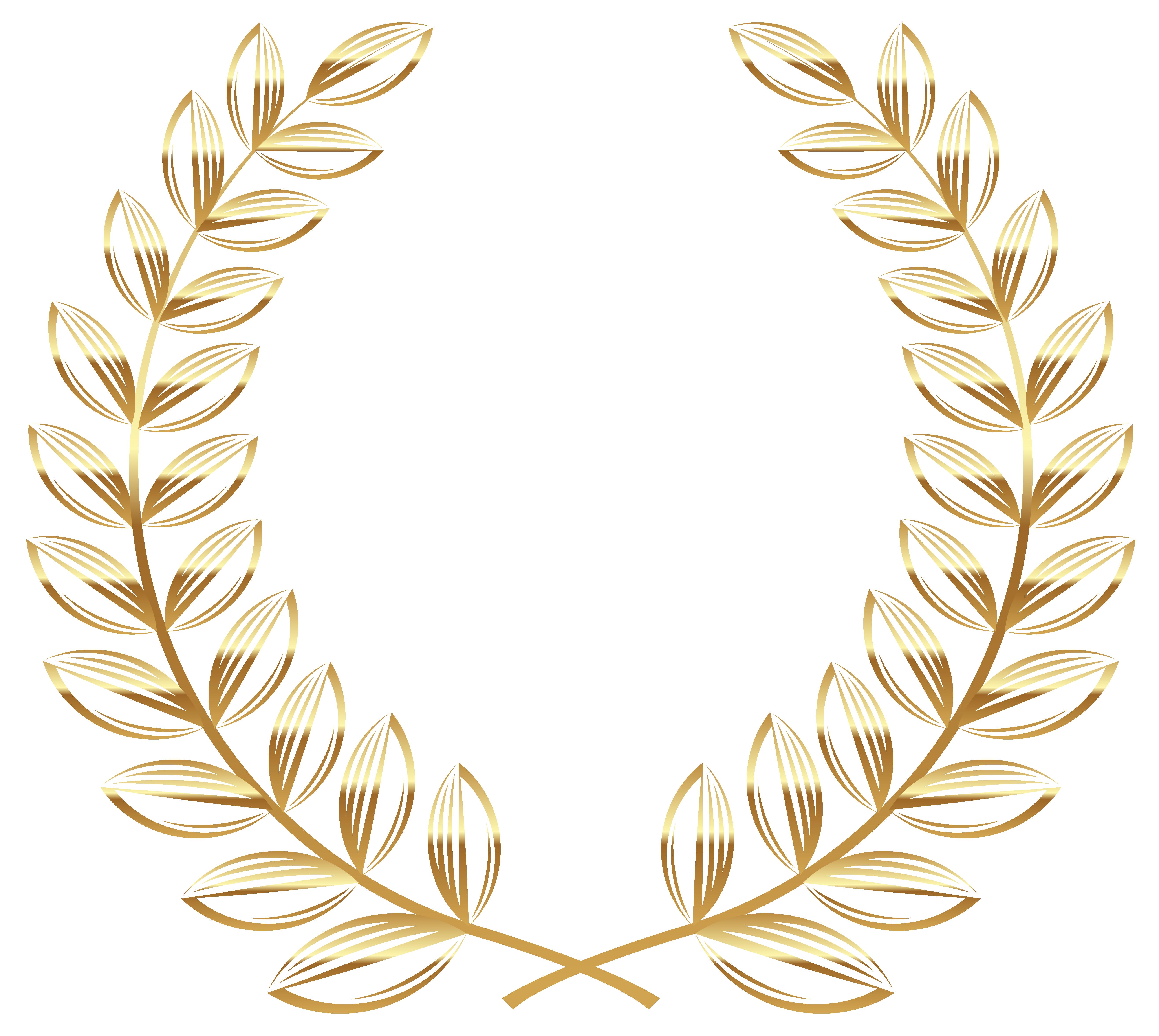 Golden Wreath Transparent PNG Clipart Picture.