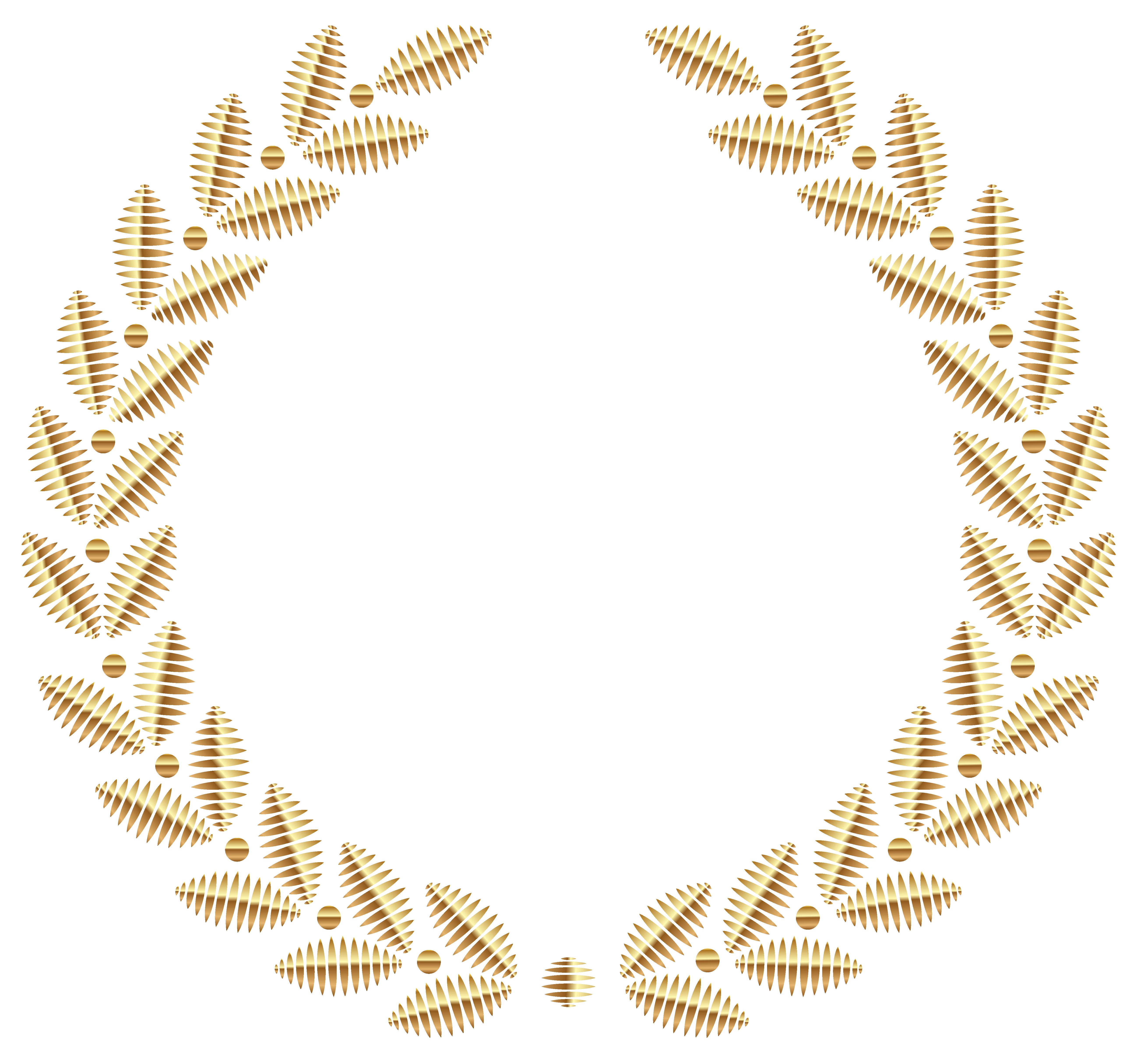 Golden Wreath PNG Transparent Clipart Image.