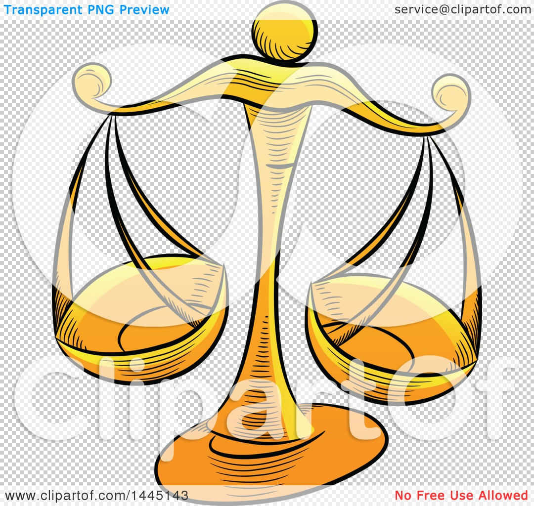 Clipart of Sketched Golden Yellow Astrology Zodiac Libra Scales.