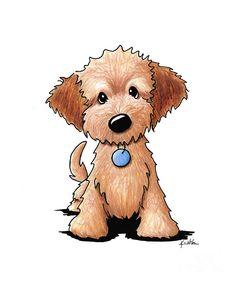 Golden doodle dog clipart.
