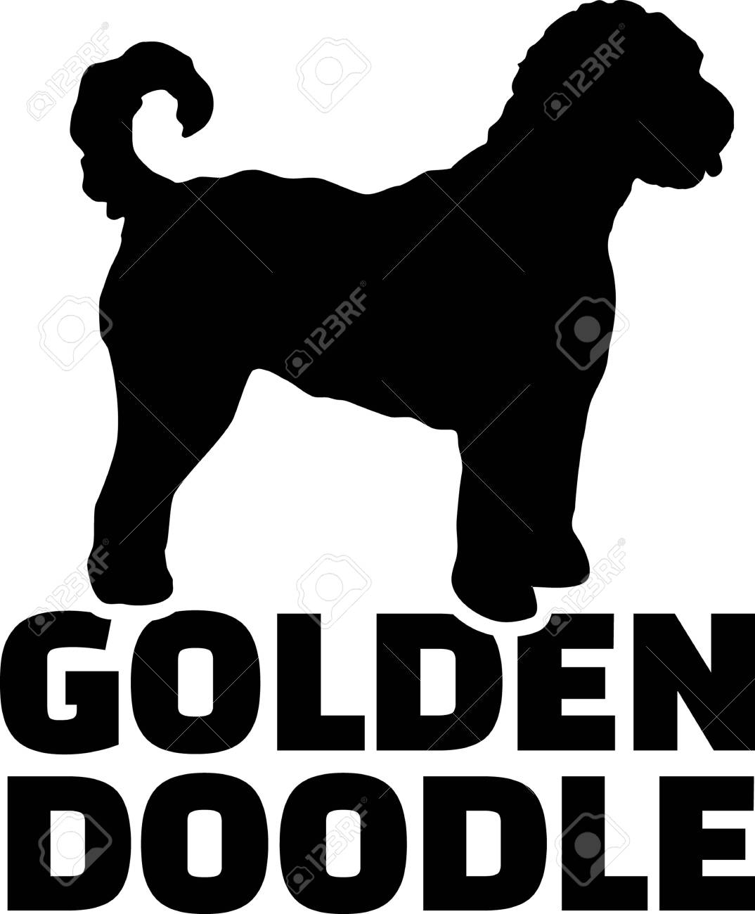 Goldendoodle silhouette real word in black.