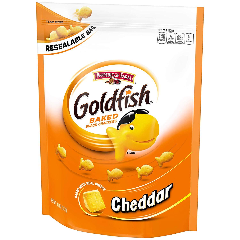 Pepperidge Farm, Goldfish, Crackers, Cheddar, 11 oz., Resealable Bag.
