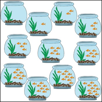 Goldfish Bowl Counting Clip Art.