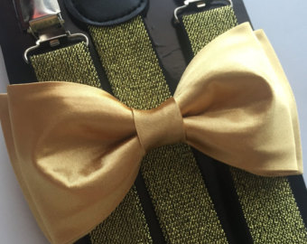 Gold bow tie.