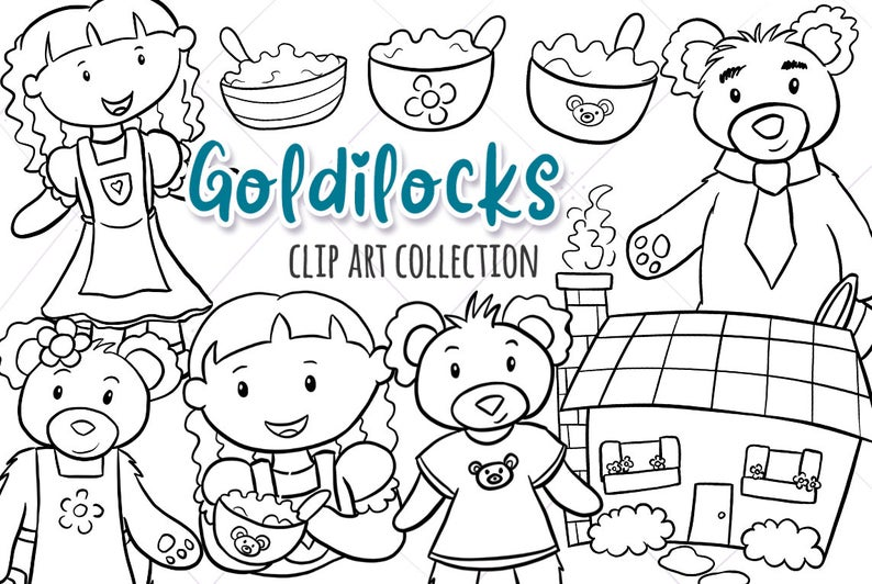 Goldilocks and the three Bears Story Book Illustrations, Black and White  Coloring Page Style Drawings, Fairy Tale.