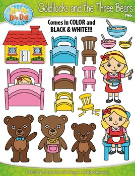 Goldilocks and the Three Bears Fairy Tale Clipart {Zip.