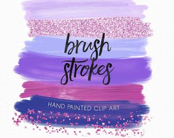 Confetti Brush Strokes Clip Art Hand Painted Nude Earth.
