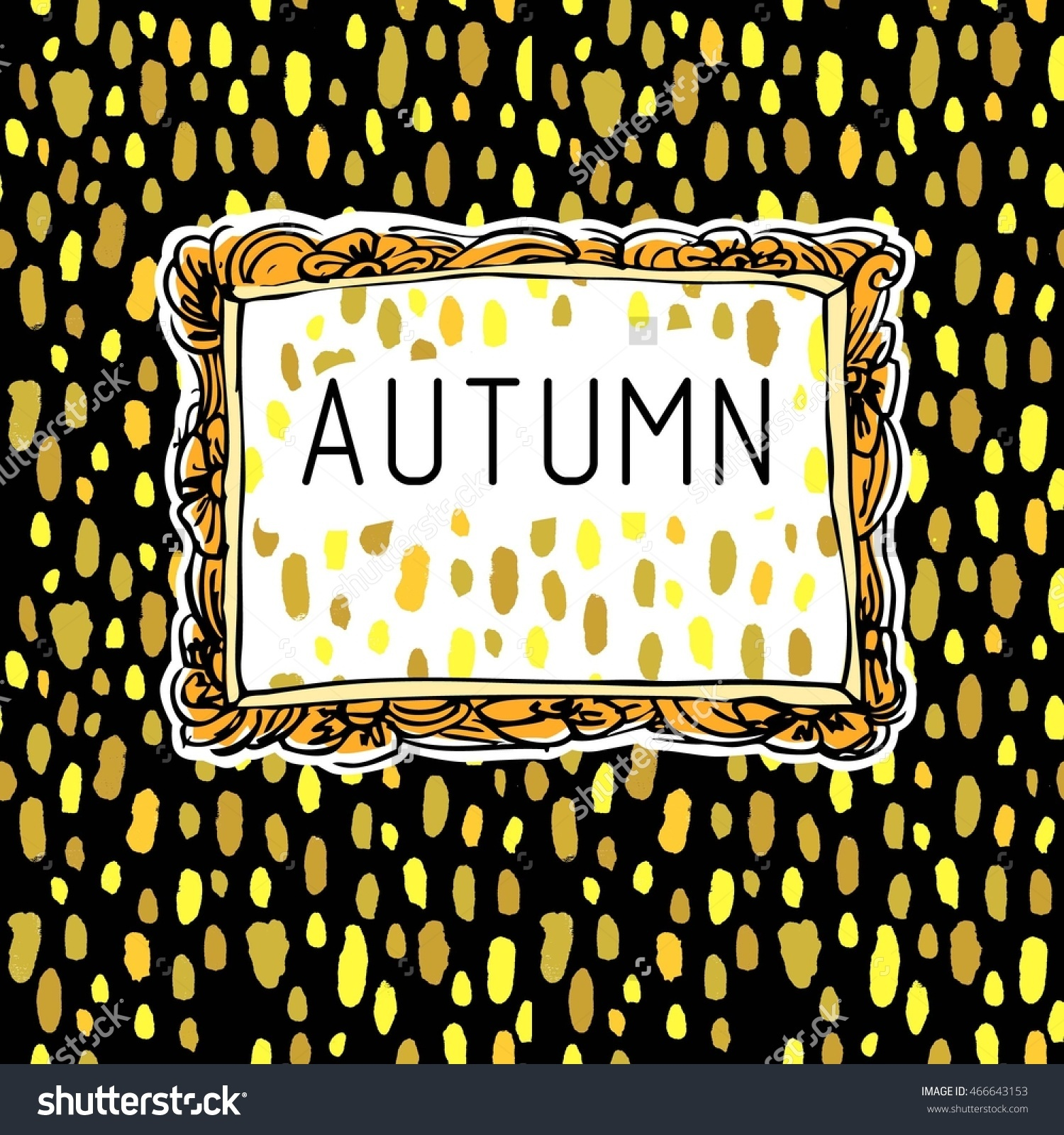 Hand Drawn Colored Picture Frame On Autumn Seamless Gold Rain.