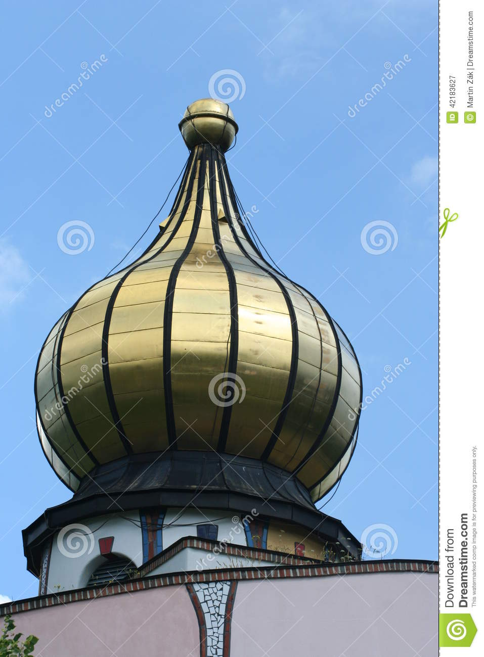 Golden Onion Dome Stock Photo.