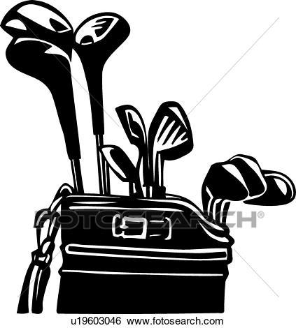 Golf Clubs and Bag Clip Art.