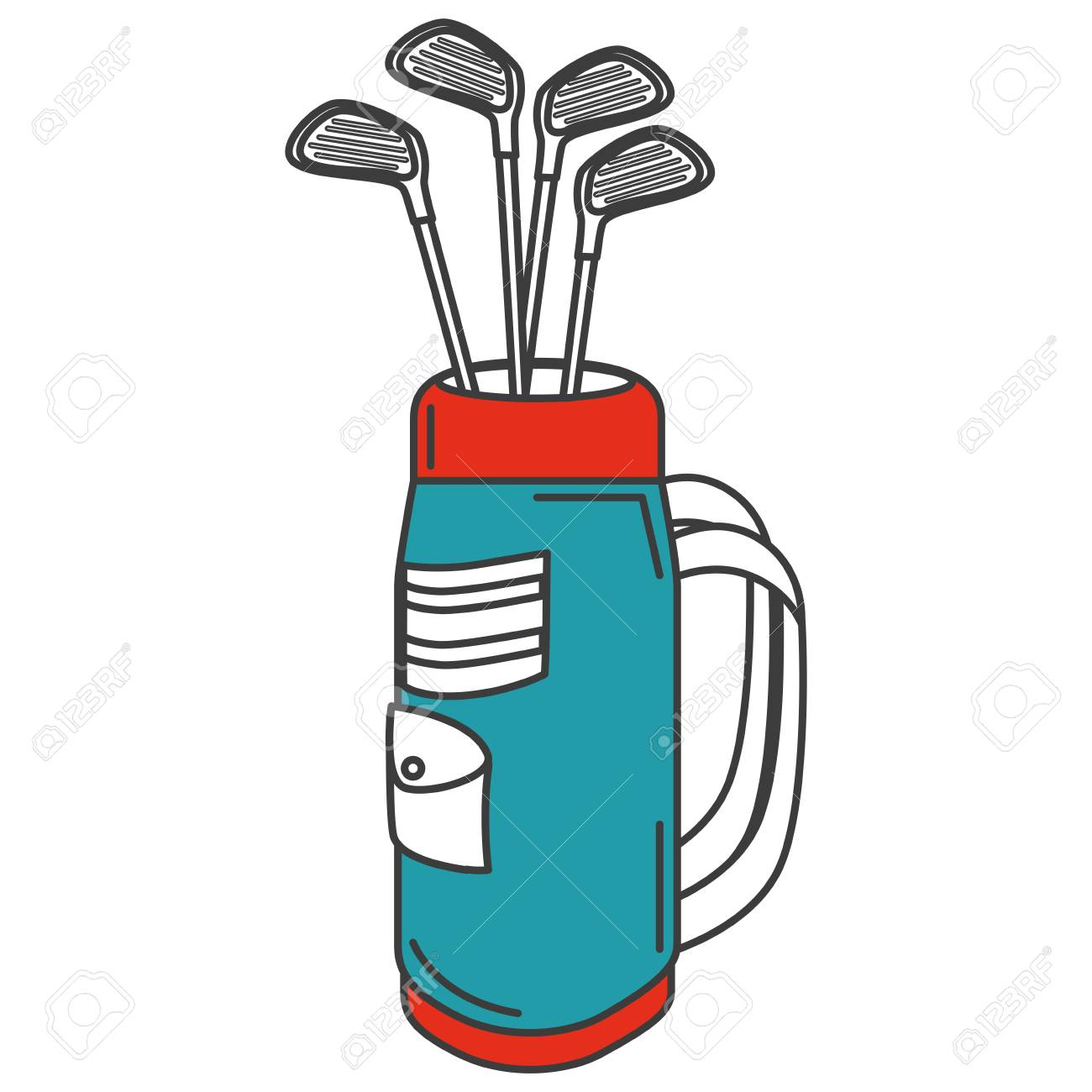 golf bag with clubs vector illustration design.