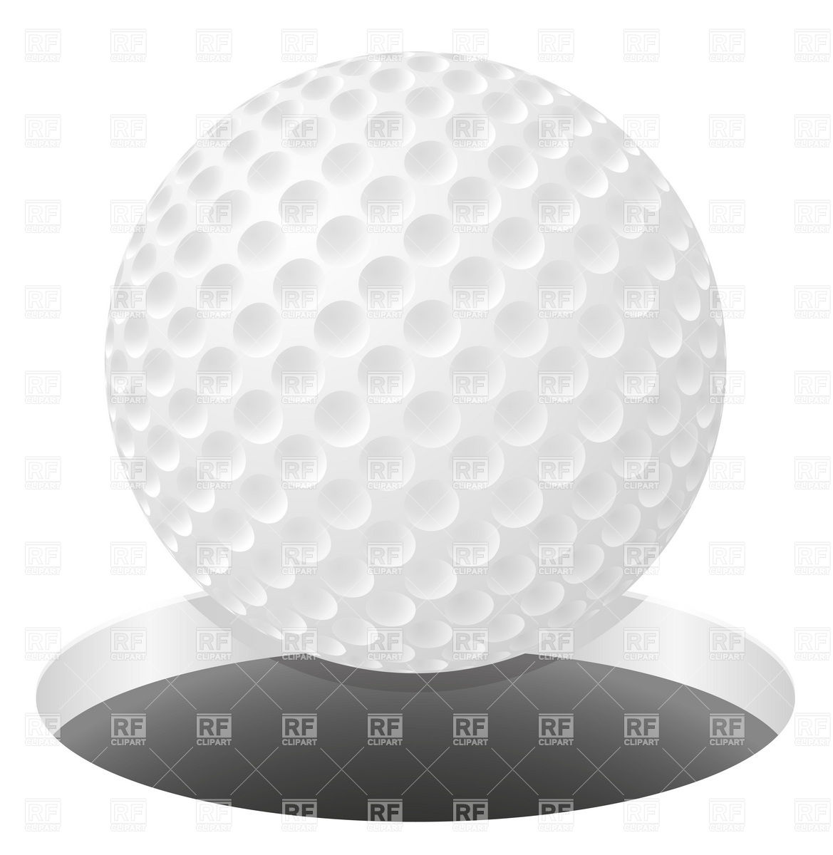 Golf ball falling into hole Stock Vector Image.