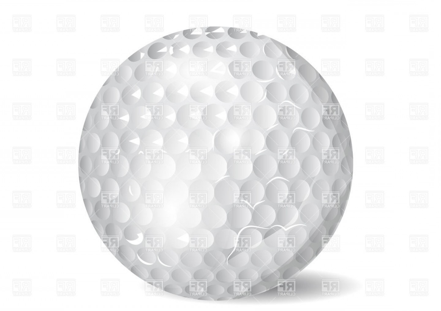 Golf Ball On White Background Vector Clipart.