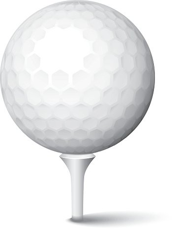 Golf Ball in Tee Clipart Image.