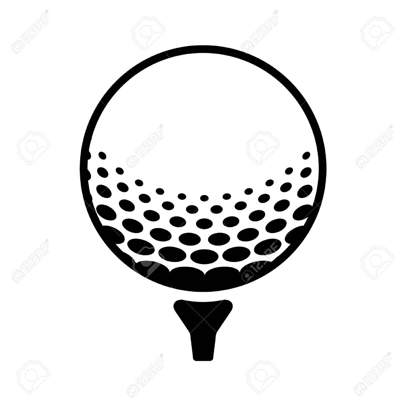 Golf ball on pin line art icon for sports apps and websites.