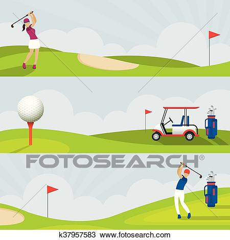 Golf, Golf Course Banner Clipart.