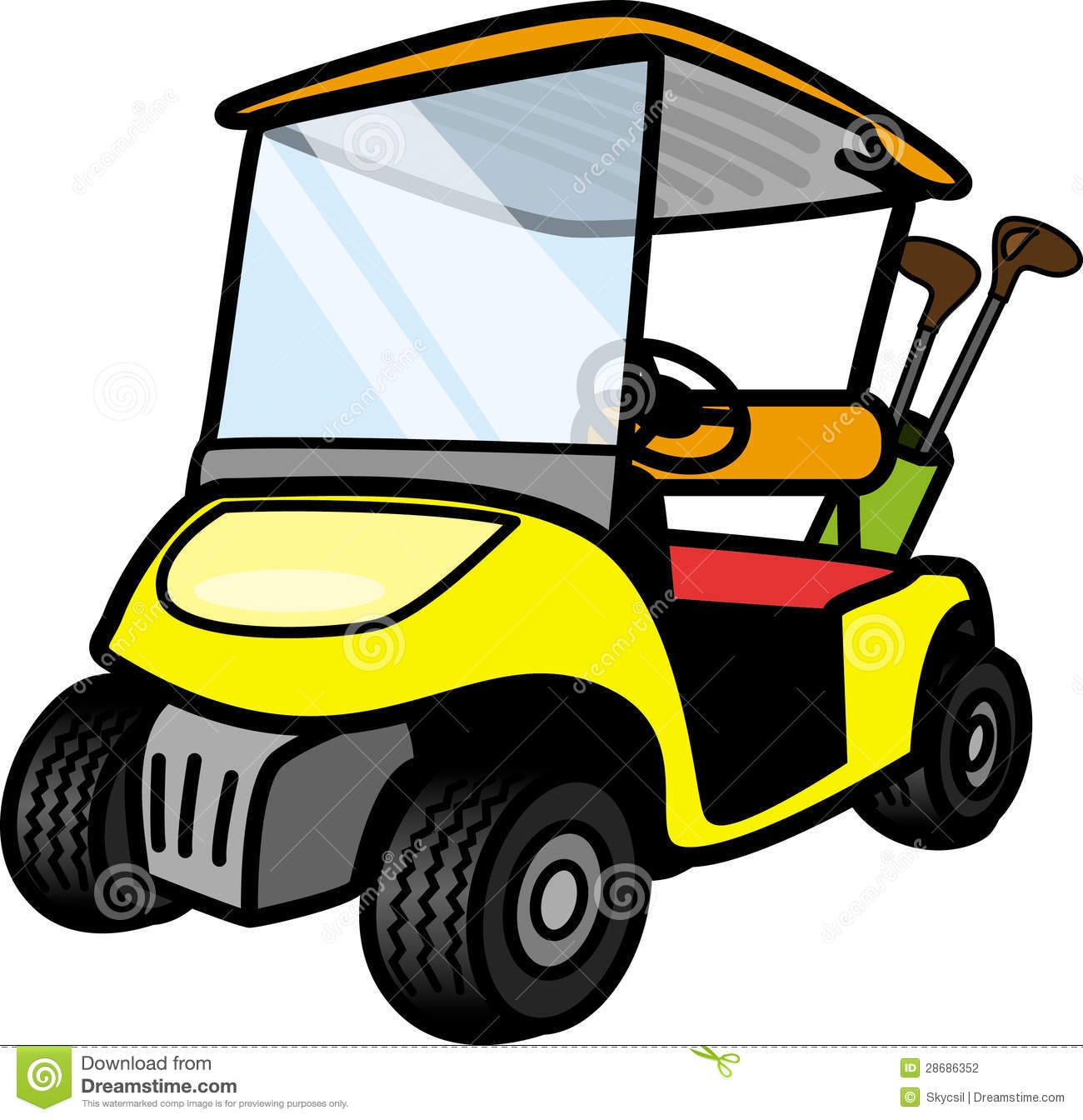 Cartoon Golf Cart Clipart.
