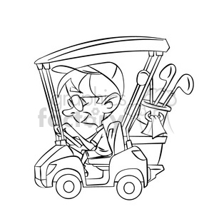 black and white image of man driving a golf cart nino en carro de golf  negro clipart. Royalty.