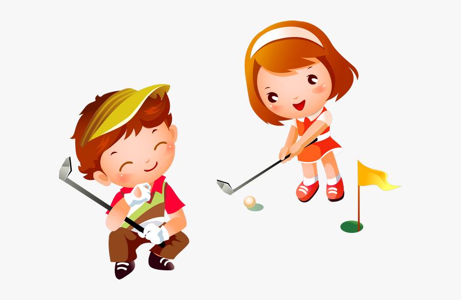 Girl Playing Golf Cartoon , Free Transparent Clipart.