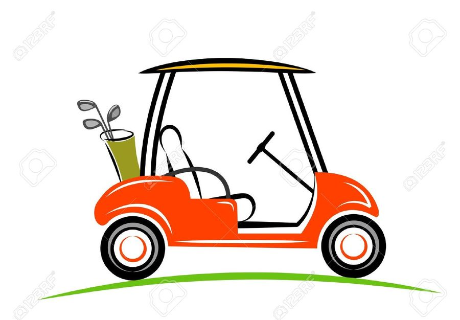 Golf, Car, Yellow, Transport, Cartoon, Product, Illustration.