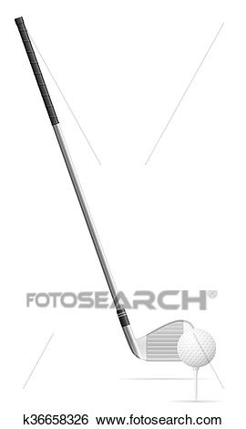 Golf club and ball vector illustration Clip Art.
