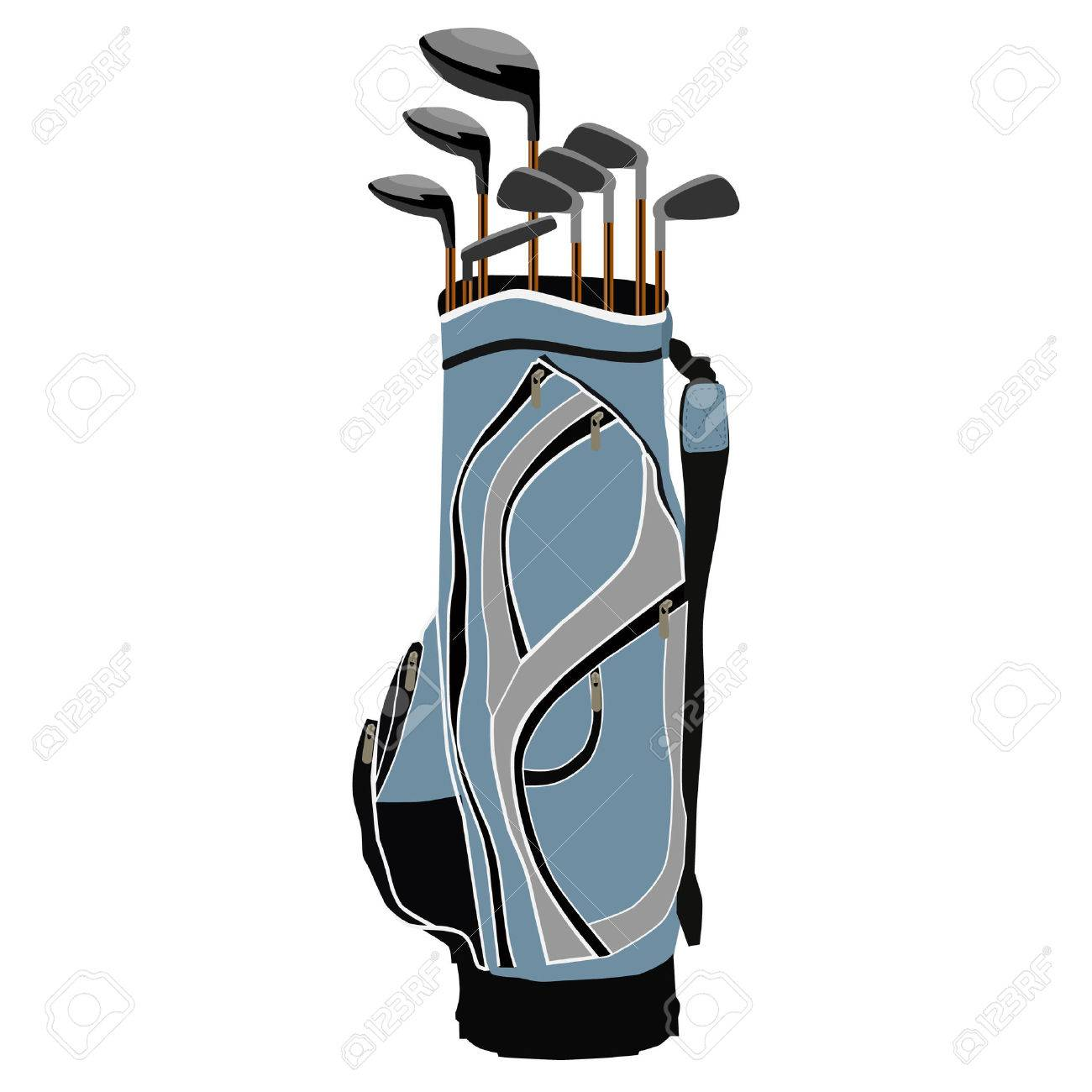 Blue golf clubs bag, sport equipment, isolated on white.