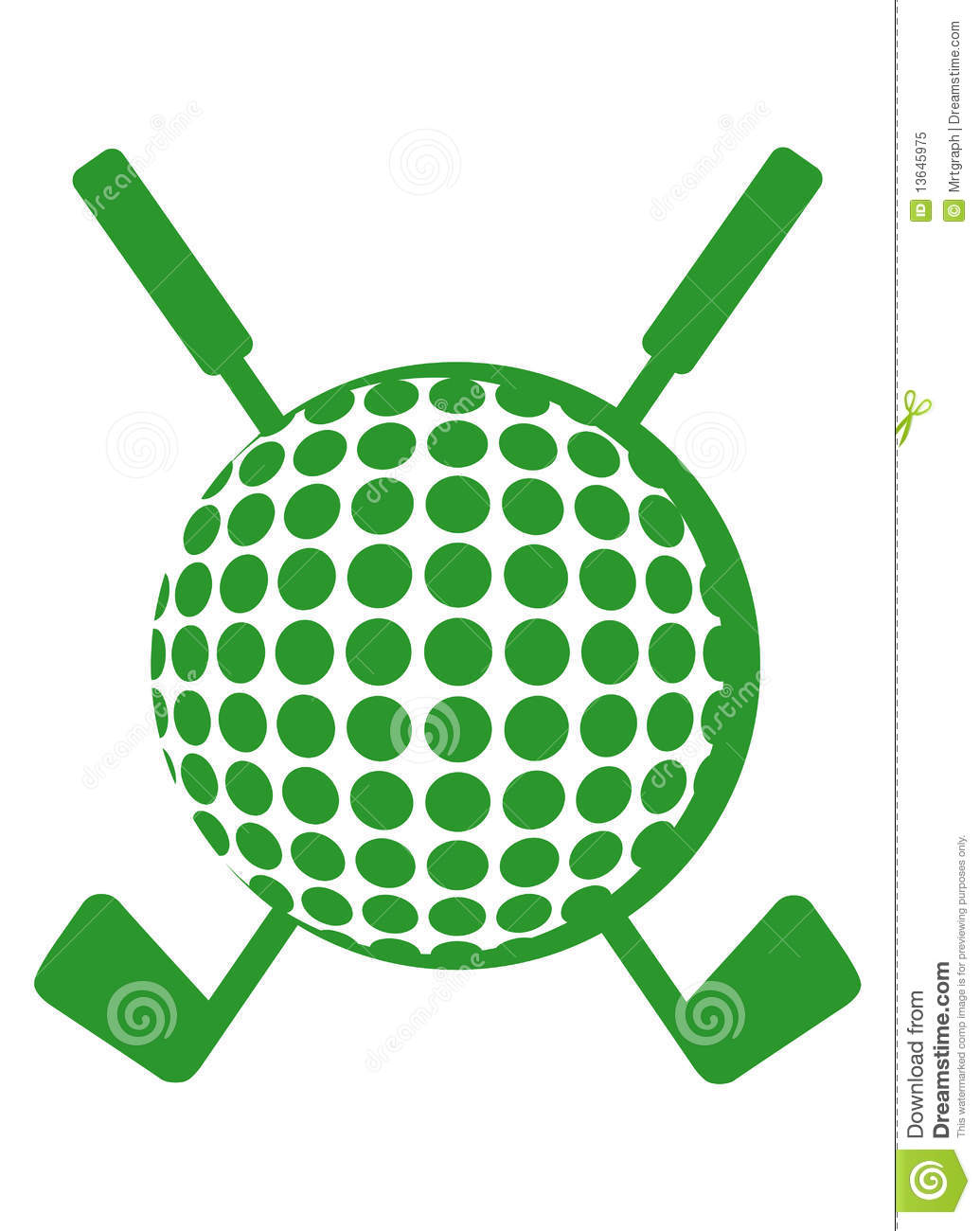 Crossed Golf Club Clipart.