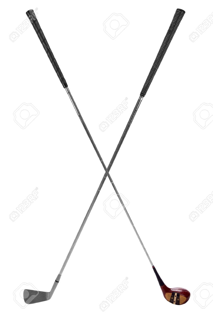 Golf clubs crossed isolated over a white background.