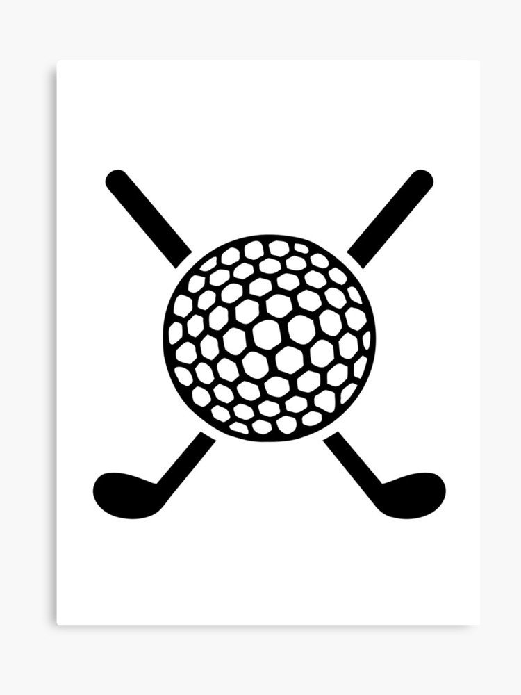 Crossed golf clubs ball.