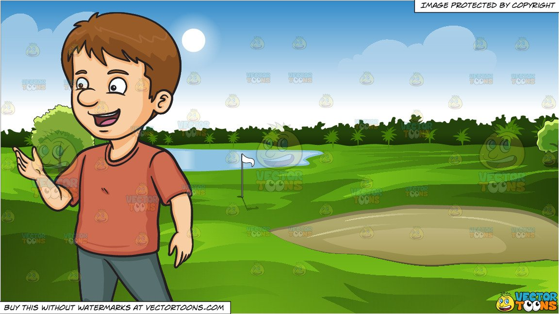 A Talking Man and Green Golf Course Background.