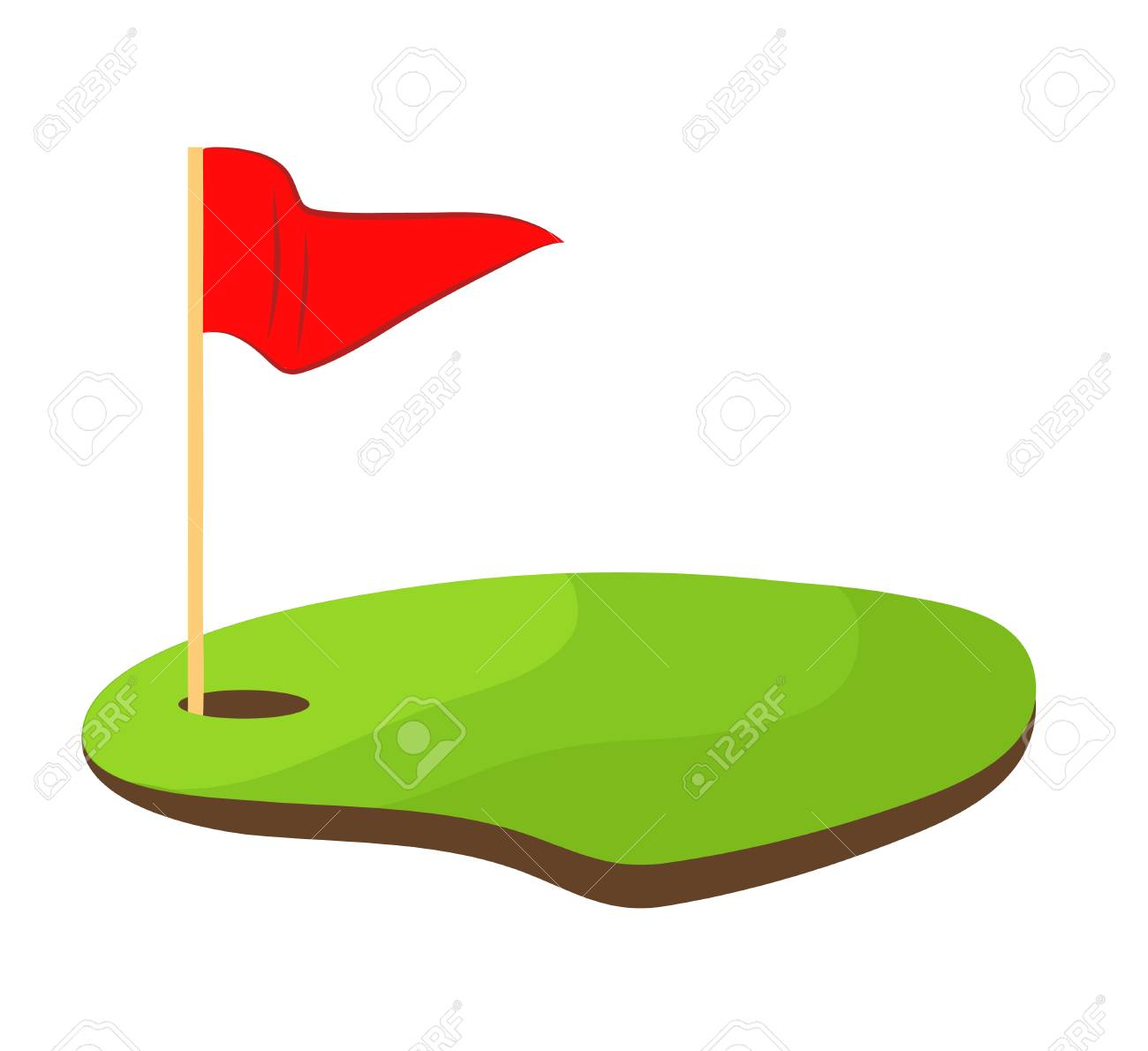 Golf hole with red flag stock vector illustration design.