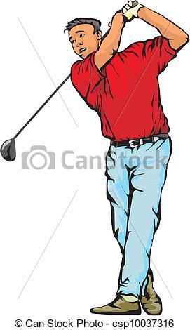 Vector Clip Art of golfer.