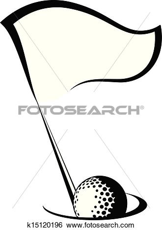Clip Art of Golf Flag with Ball in Hole k15120196.
