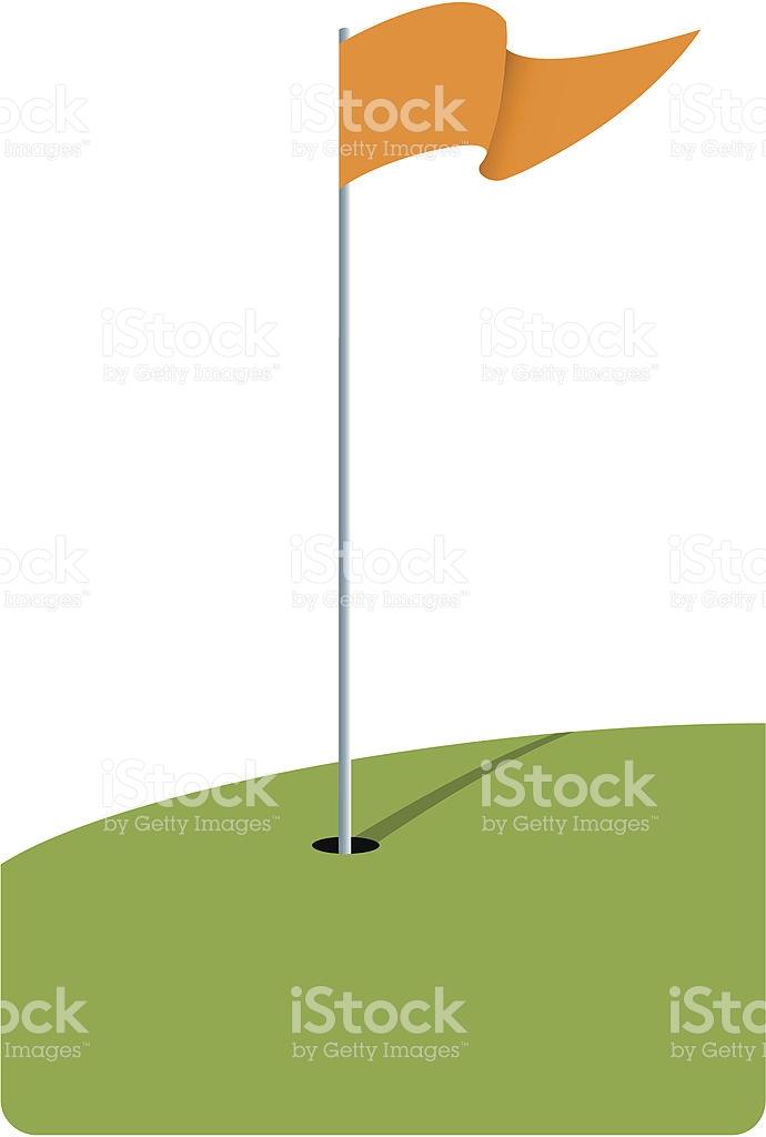 Modern Illustration Of Golf Hole And Orange Flag stock vector art.