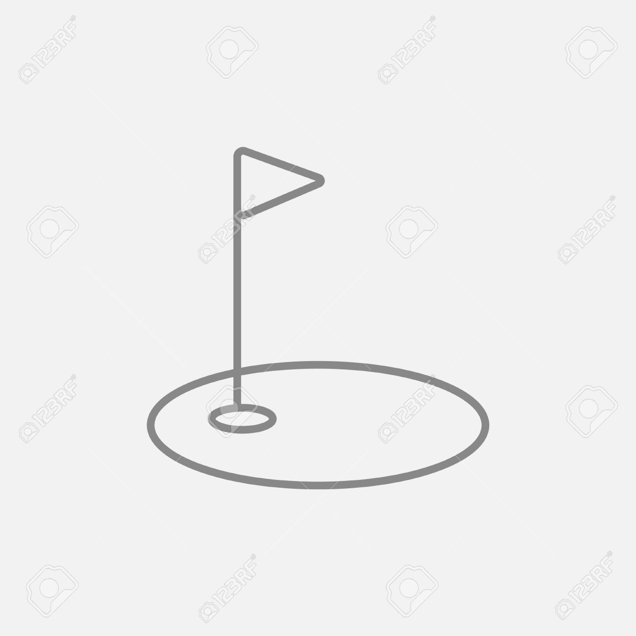 Golf Hole With A Flag Line Icon For Web, Mobile And Infographics.