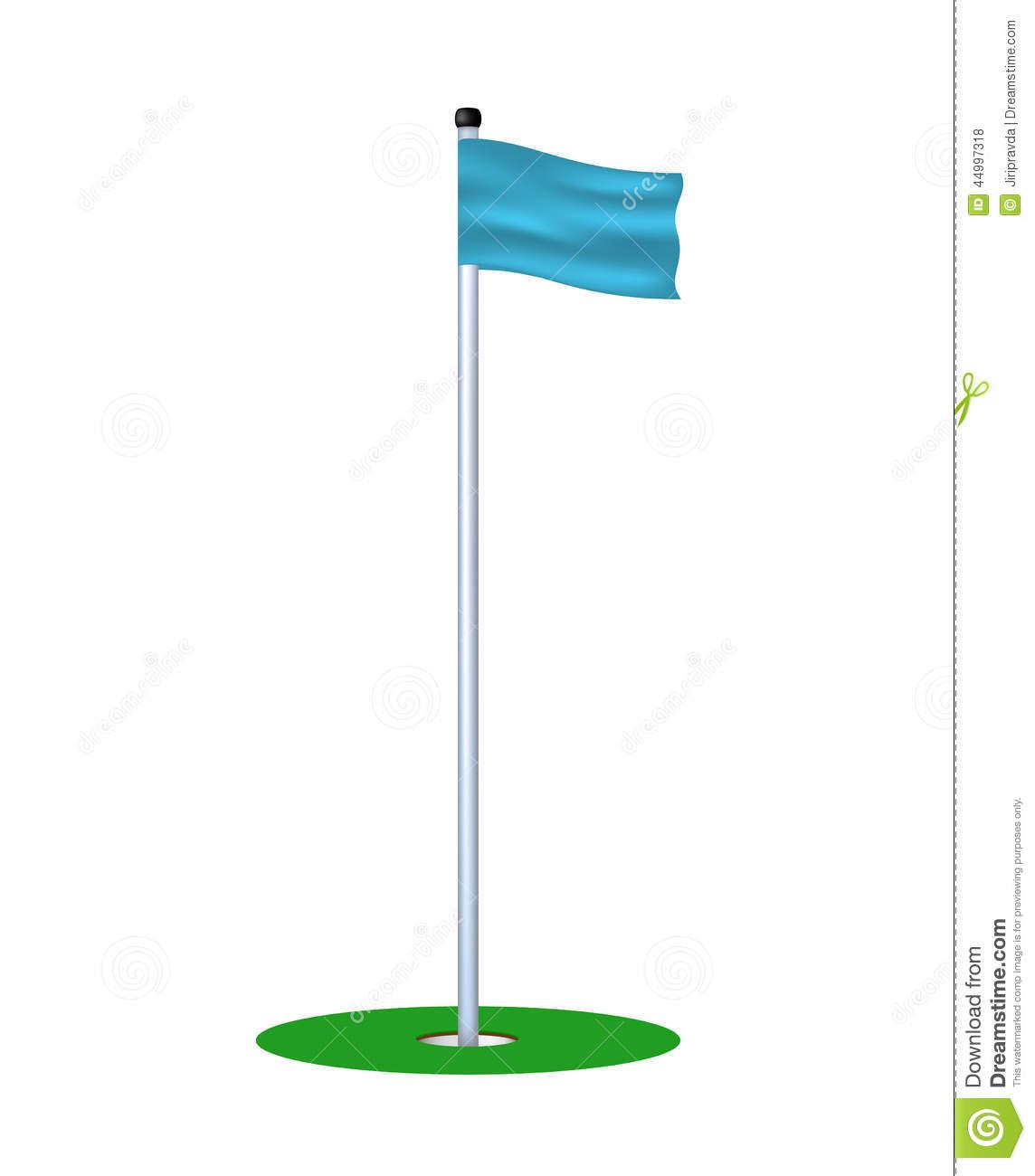 Golf Hole With Blue Flag Stock Vector.
