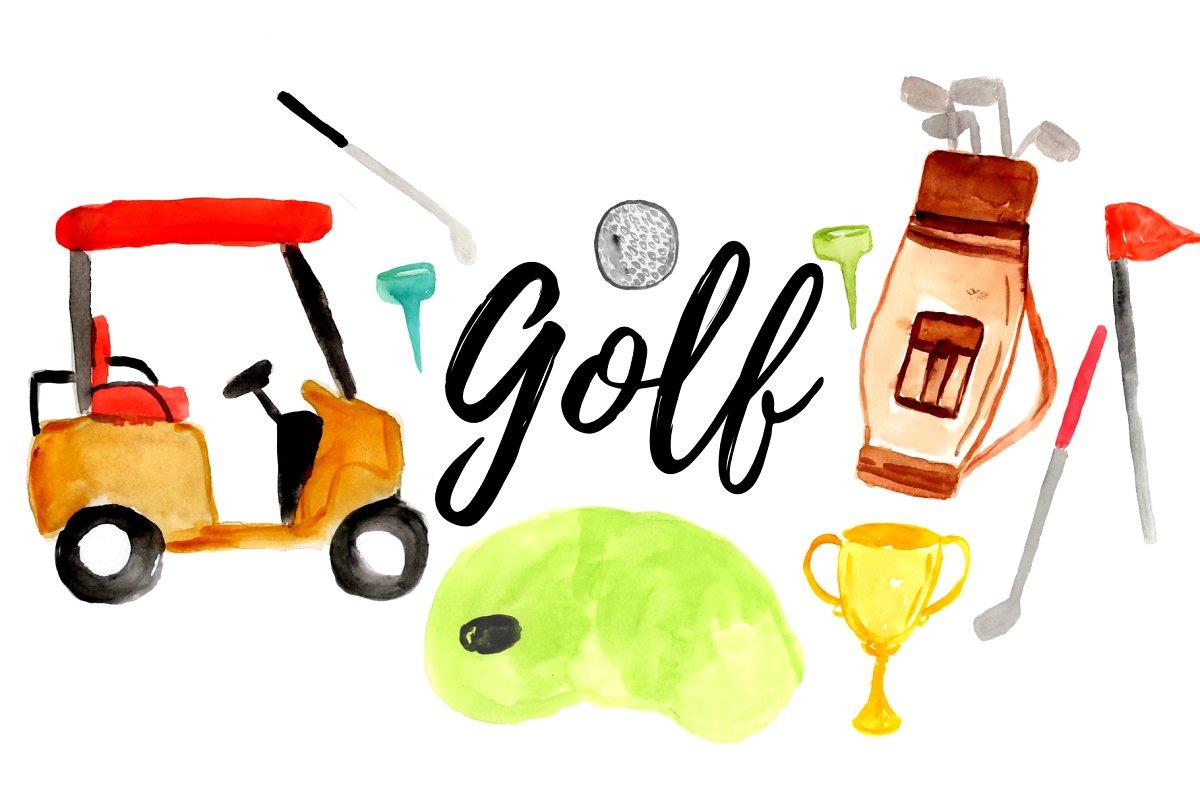 Watercolor Sport Golf Clipart.