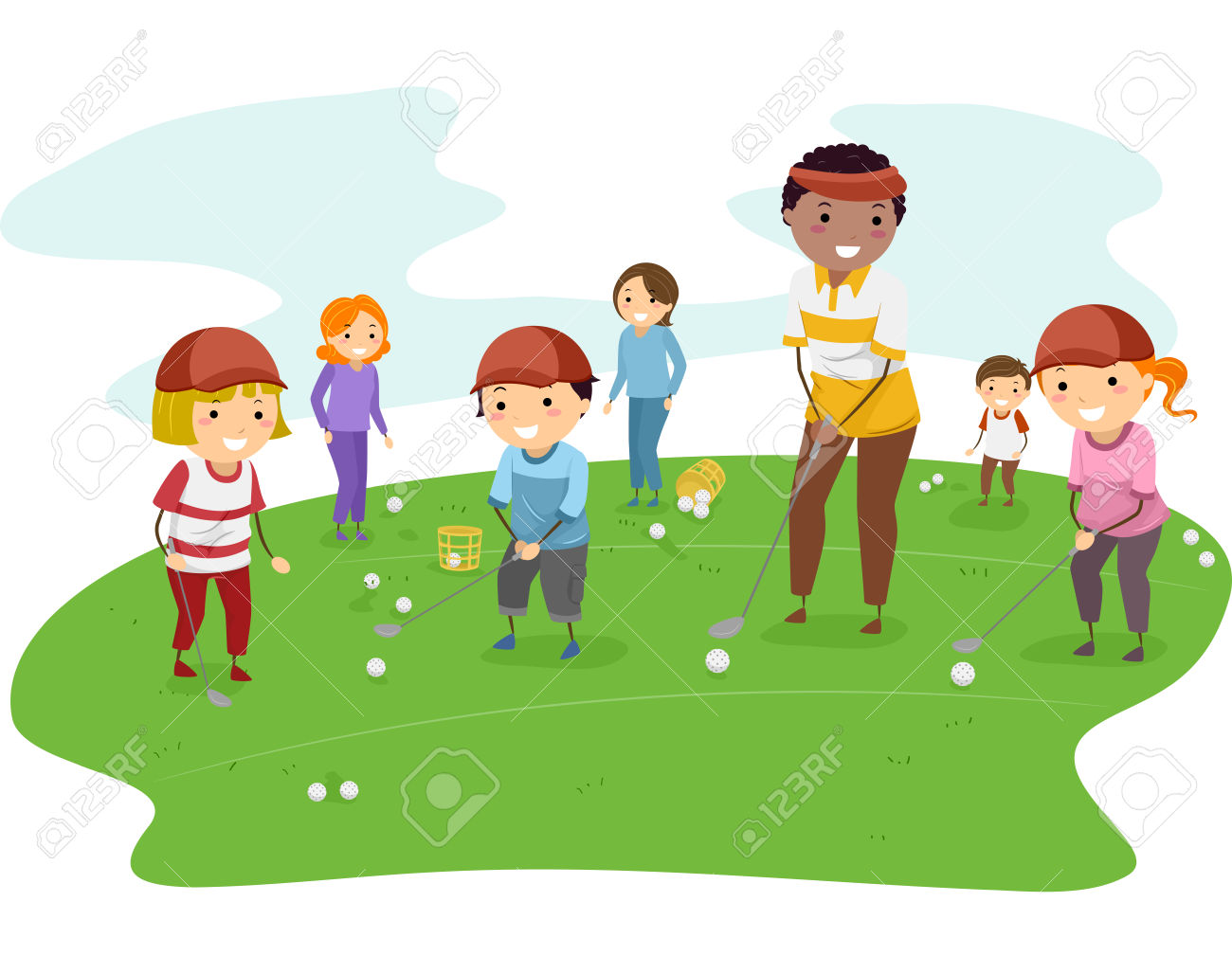 Illustration Of Kids Getting Golf Lessons From Their Coach Royalty.