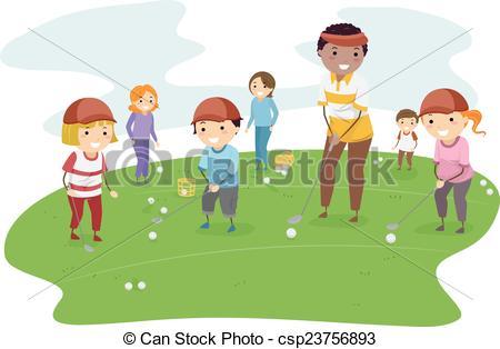 EPS Vectors of Stickman Kids Golf Lesson.