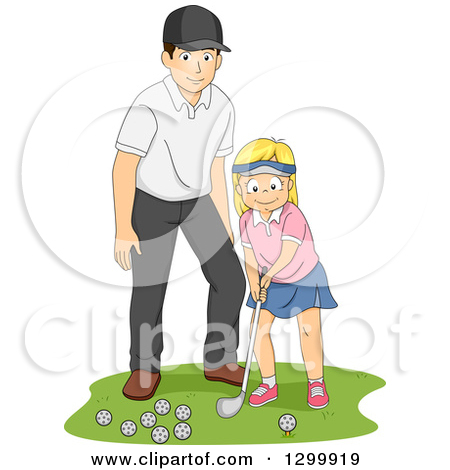 Clipart of a Golf Course Frame with Balls, a Club and Hole.
