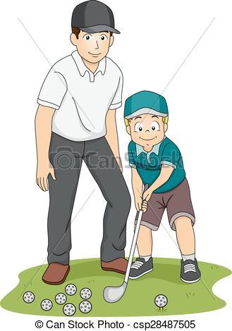 Vector Clip Art of Girl Golf Coach.