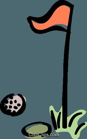 golf ball and pin Royalty Free Vector Clip Art illustration.