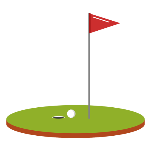 Golf ball flag course illustration.