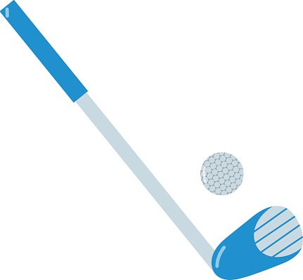 Golf putter and golf ball on white background Clipart Image.