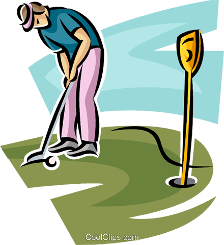 golfer putting the ball Royalty Free Vector Clip Art illustration.