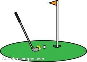 300x215 Clip Art Illustration of a Golf Putting Green.