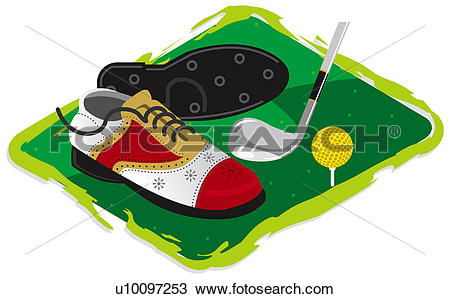 Drawing of Pair of golf shoes and a golf ball with a golf club.