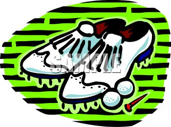 Royalty Free Clip Art Image: Golf Shoes and Balls.