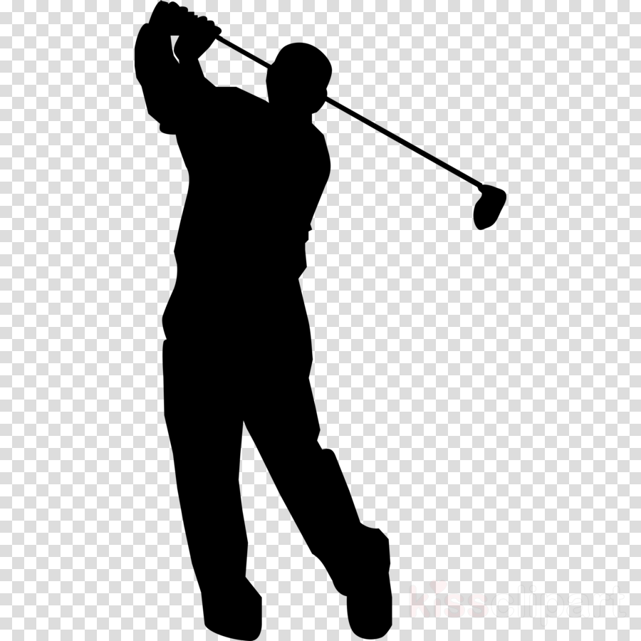 golfer solid swing+hit silhouette golf standing clipart.